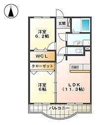 メゾン・ダルカンシールI・II[2階]の間取り