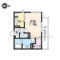 叡山電鉄叡山本線 一乗寺駅 徒歩4分の賃貸アパート 2階1Kの間取り
