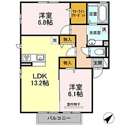 広島県広島市安佐北区三入2丁目の賃貸アパートの間取り