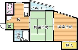 シャトレ幸神西[2階]の間取り
