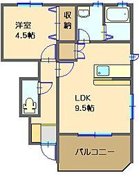 レ・ジュイール 1階1LDKの間取り