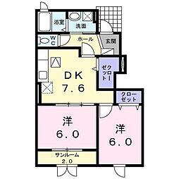 富山県富山市秋吉の賃貸アパートの間取り