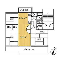 下大利団地28棟[5階]の間取り