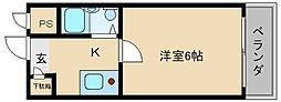 大阪府東大阪市下六万寺町3丁目の賃貸マンションの間取り