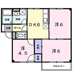 スカイハイツ王塚台 2階3DKの間取り