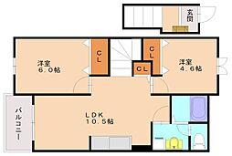 セピアコート原口[2階]の間取り
