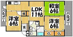 福岡県福岡市東区唐原3丁目の賃貸マンションの間取り