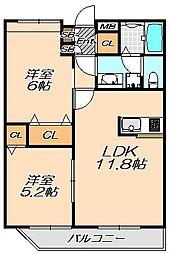 兵庫県神戸市北区有野町唐櫃の賃貸マンションの間取り