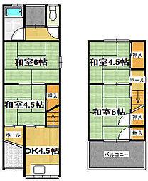 [テラスハウス] 大阪府東大阪市新庄南 の賃貸【/】の間取り
