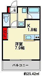 ソレイユ曙 2階ワンルームの間取り
