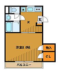 東京都国立市北の賃貸マンションの間取り