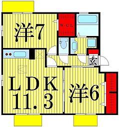 東京都足立区六町4丁目の賃貸アパートの間取り