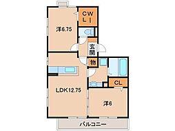 和歌山県和歌山市加納の賃貸アパートの間取り