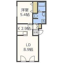 サンハイム厚別[4階]の間取り