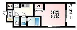Osaka Metro御堂筋線 江坂駅 徒歩12分の賃貸マンション 8階1Kの間取り