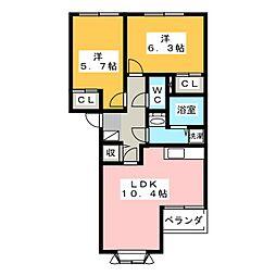 サンオールドリバー[1階]の間取り