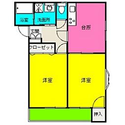 福岡県福岡市城南区七隈6丁目の賃貸アパートの間取り