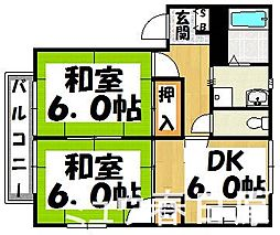 福岡県大野城市山田2丁目の賃貸アパートの間取り