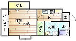 福岡県宗像市日の里9丁目の賃貸アパートの間取り