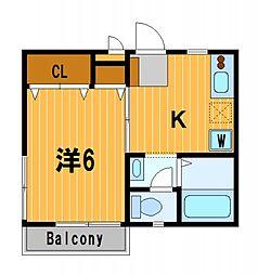東京都大田区南六郷1丁目の賃貸アパートの間取り