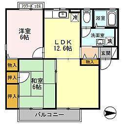 大阪府羽曳野市西浦6丁目の賃貸アパートの間取り