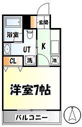 仙台市営南北線 北四番丁駅 徒歩9分の賃貸マンション 2階1Kの間取り