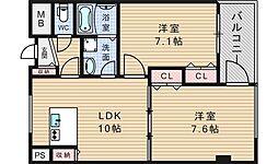 ヴェスタ堀江[7階]の間取り