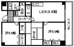 セーヌ東岸和田[403号室]の間取り