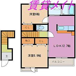 三重県伊勢市神社港の賃貸アパートの間取り