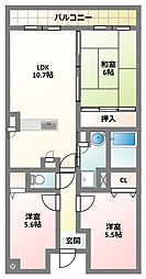 大阪府四條畷市大字清瀧の賃貸マンションの間取り