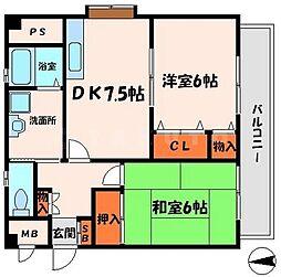 パレ菊水 4階2DKの間取り