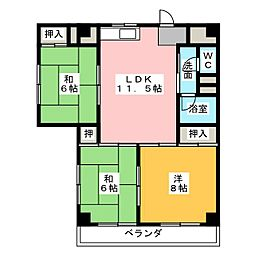 西中島第ニマンション[4階]の間取り
