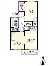 La Vie38 F棟[2階]の間取り