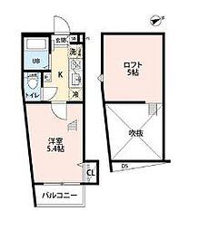 JR南武線 西国立駅 徒歩3分の賃貸アパート 3階1Kの間取り