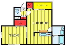 都営三田線 板橋本町駅 徒歩5分の賃貸アパート 1階1LDKの間取り