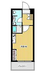 トーマスタワー 15階ワンルームの間取り