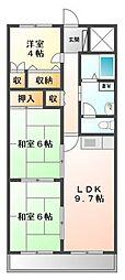 岸田ハイツ[1階]の間取り