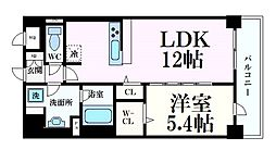 シェリール六甲道 6階1LDKの間取り
