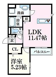 エルクルー舟入南 3階1LDKの間取り