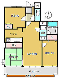 パレ北武庫之荘IV 203[2階]の間取り