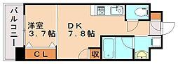 クリスタル&リゾートスカイプレミア 4階1DKの間取り