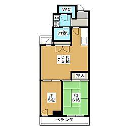 第1パールハイツ上杉[6階]の間取り