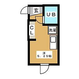 ベルメゾン東洋 1階ワンルームの間取り