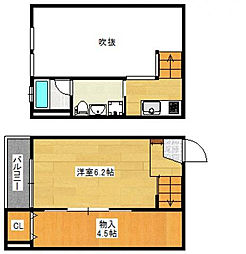 JR鹿児島本線 久留米駅 徒歩10分の賃貸アパート 1階1SKの間取り