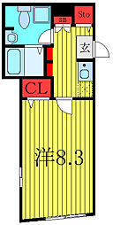 THE RESIDENCE tosima-chihaya 1階1Kの間取り