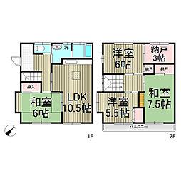 [テラスハウス] 神奈川県鎌倉市台1丁目 の賃貸【/】の間取り