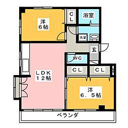 サウスビラミヤ[2階]の間取り