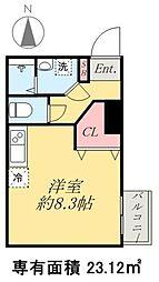 京成本線 京成高砂駅 徒歩5分の賃貸マンション 1階ワンルームの間取り