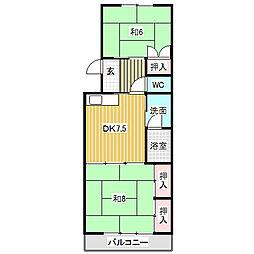 愛知県名古屋市中川区高畑5丁目の賃貸マンションの間取り