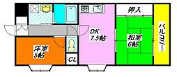 ふぁみーゆ・足代北 401号室[4階]の間取り
